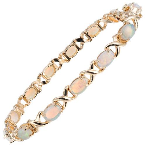 4.00 Carat Australian Opal Yellow Gold X-Design Link Bracelet