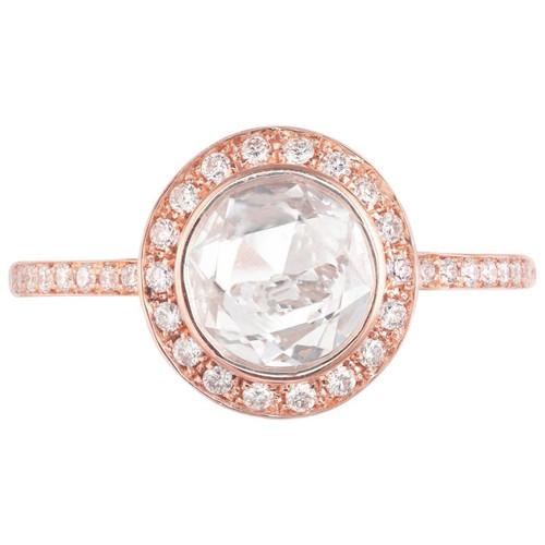 Peter Suchy 1.02 Carat Diamond Rose Gold Halo Engagement Ring