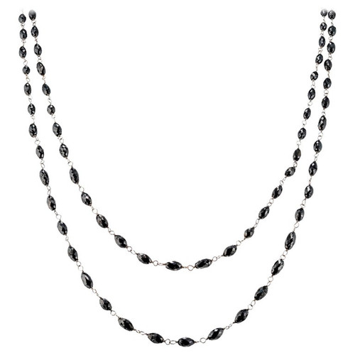 20.00 Carat Black Diamond Briolette White Gold Necklace