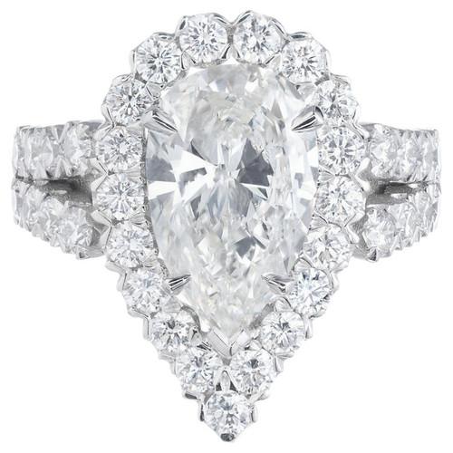 Peter Suchy GIA Certified 2.96 Carat Pear Diamond Halo Platinum Ring