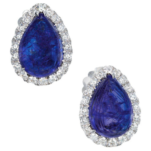 Peter Suchy 13.70 Carat Tanzanite Diamond White Gold Earrings