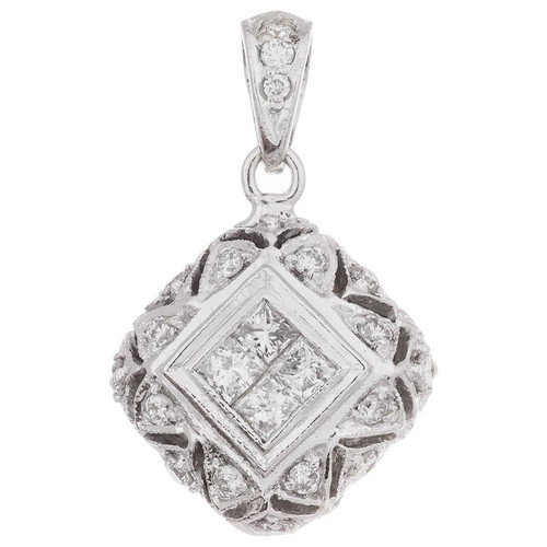.65 Carat Diamond White Gold Dome Pendant