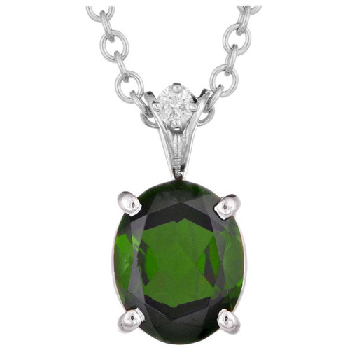 2.05 Carat Tourmaline Diamond White Gold Pendant Necklace