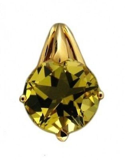 Estate Round 14k Yellow Gold Lime Green Lemon Quartz Star Facet Pendant Slide
