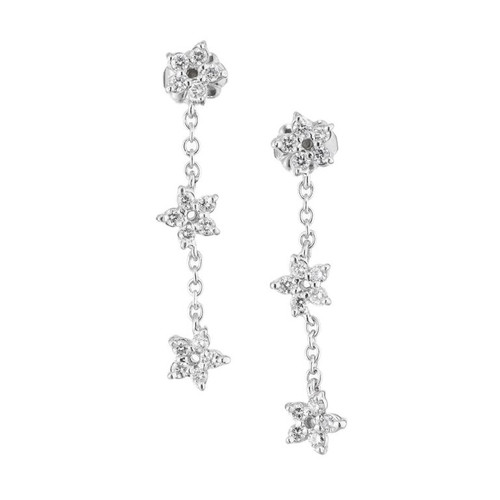 Peter Suchy .60 Carat Diamond Platinum Triple Star Dangle Earrings