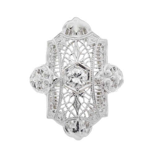 1940s 18 Carat Diamond White Gold Filigree Ring