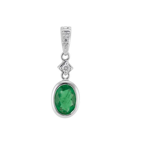 Peter Suchy  .52ct Emerald Diamond  White Gold Pendant