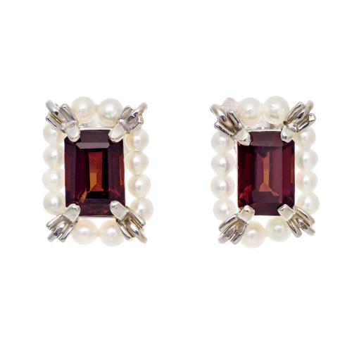2.50 Garnet Cultured Pearl White Gold Earrings