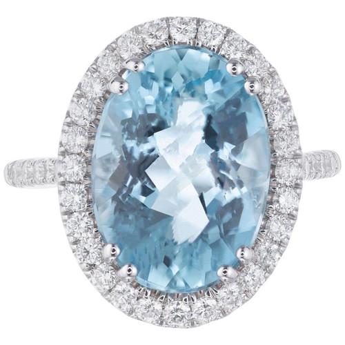 Coast 3.65 Carat Aquamarine Diamond White Gold Halo Ring