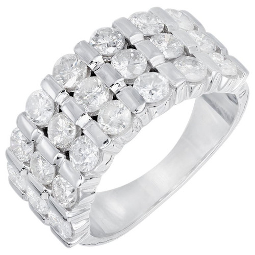 2.09 Carat Diamond White Gold Three-Row Wedding Band Ring