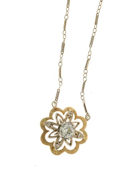 Vintage .67ct European Cut Diamond 14k White Gold Bar Link Chain Flower Pendant