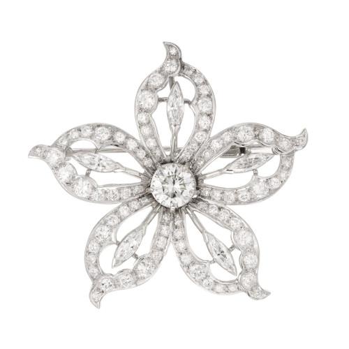 EGL Certificate 1.20 Carat Diamond White Gold Flower Brooch