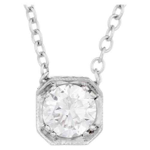 Peter Suchy EGL Certified .74 Carat Diamond White Gold Pendant Necklace