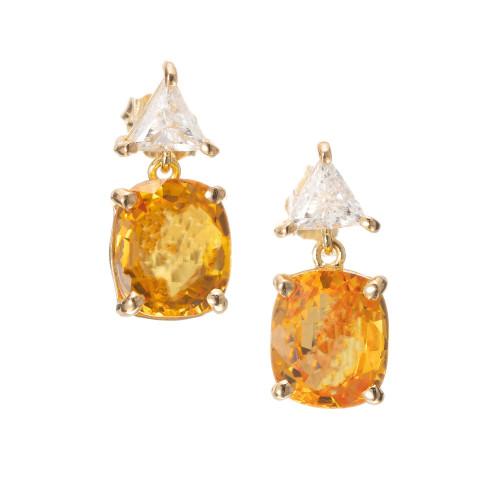 Peter Suchy 6.42 Carat Sapphire Diamond Yellow Gold Dangle Earrings