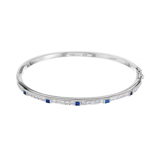 .30 Carat Diamond Sapphire White Gold Hinged Bangle Bracelet
