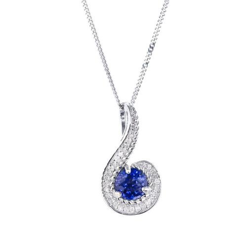 .70 Carat Blue Tanzanite Diamond White Gold Swirl Pendant Necklace