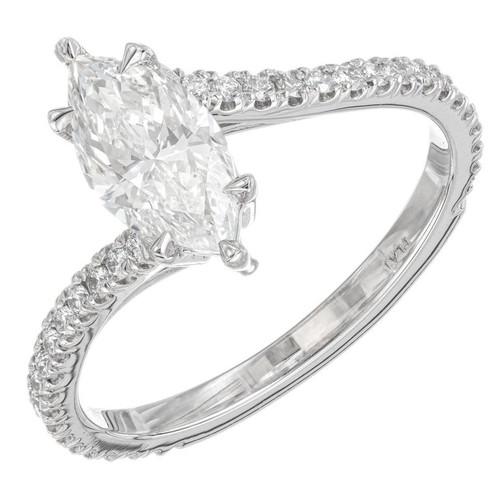 Peter Suchy GIA certified 1.01 Carat Diamond Platinum Pass Style Ring