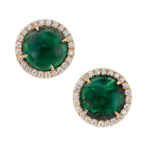 Peter Suchy GIA Certified 8.85 Carat Emerald Diamond Yellow Gold Earrings