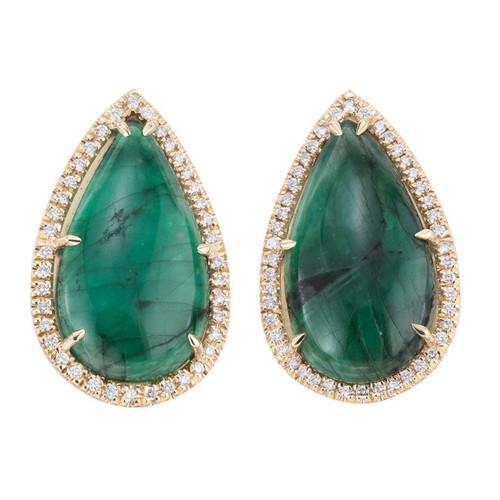Peter Suchy GIA Certified 15.53 Carat Emerald Diamond Yellow Gold Earrings