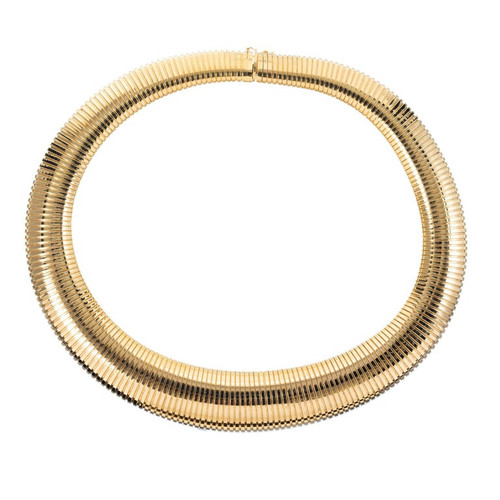 Tubogas Yellow Gold Accordion Necklace