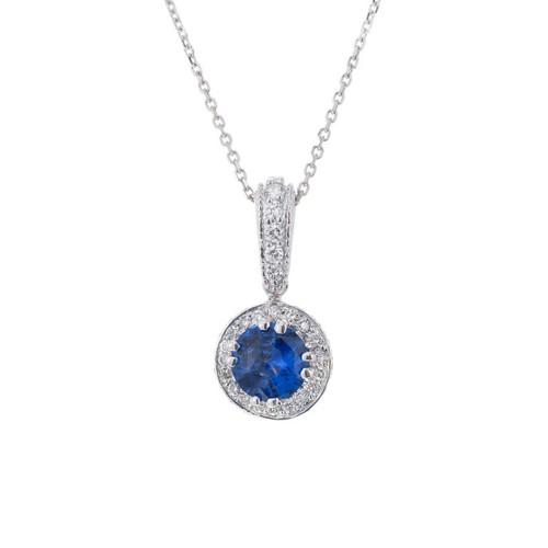 Peter Suchy 1.12 Carat Blue Sapphire Diamond White Gold Pendant Necklace