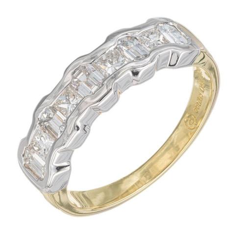 1.14 Carat Nine Diamond Yellow Gold Platinum Wedding Band Ring