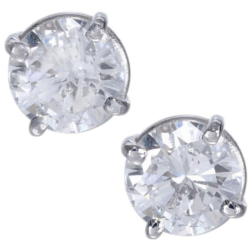 1.23 Carat Diamond White Gold Stud Earrings