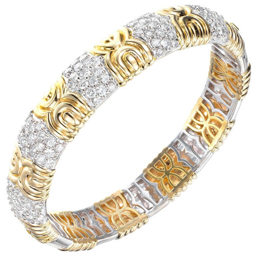 3.35 Carat Diamond Two-Tone Gold Bangle Bracelet