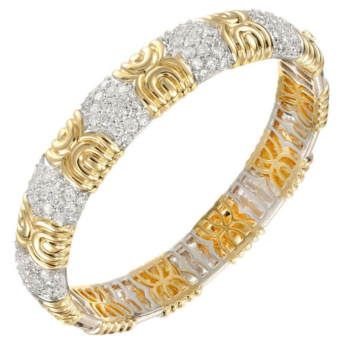 3.33 Carat Diamond Two-Tone Gold Bangle Bracelet