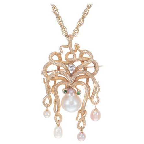 .10 Carat Diamond Pearl Garnet Yellow Gold Octopus Brooch Pendant Necklace