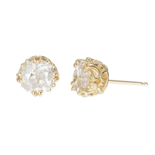 Peter Suchy 2.41 Carat Diamond Yellow Gold Stud Earrings