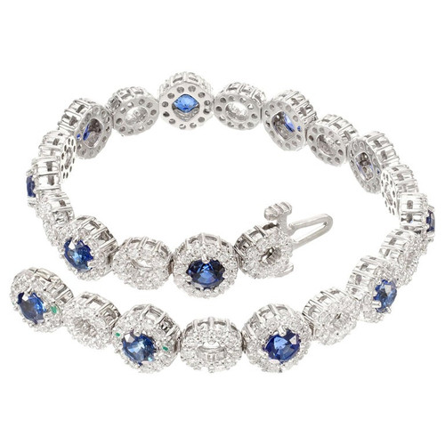 GIA Certified 3.60 Carat Blue Sapphire Diamond Halo Bracelet