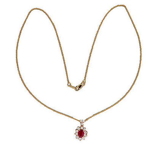 Vintage 1.00ct Gem Oval Ruby Cid 14k Gold .63ct Diamond Pendant 18 In Chain