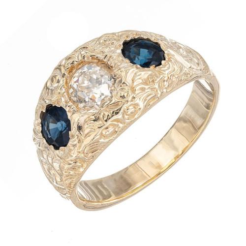 EGL Certified 1.00 Carat Diamond Sapphire Three-Stone Yellow Gold Ring