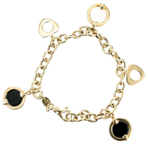 Onyx Mother of Pearl Yellow Gold Link Charm Bracelet