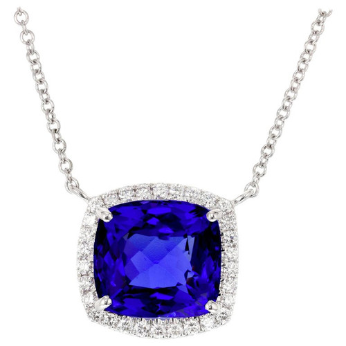 Peter Suchy 6.18 Carat Blue Tanzanite Diamond Halo White Gold Pendant Necklace