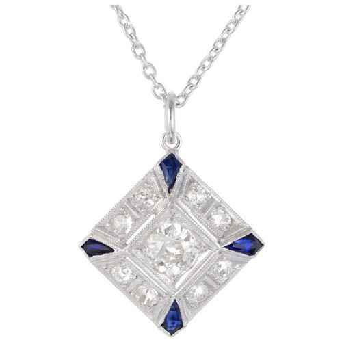 .66 Carat Diamond Blue Sapphire Platinum Pendant Necklace
