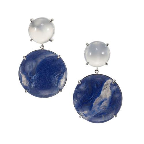 Peter Suchy 46.69 Carat Moonstone Quartz White Gold Dangle Earrings
