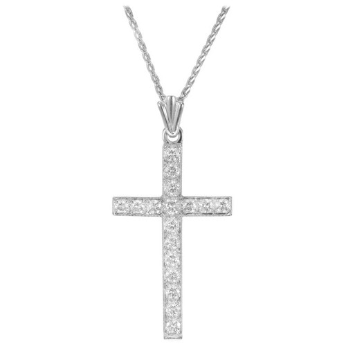 .45 Carat Diamond White Gold Cross Pendant Necklace