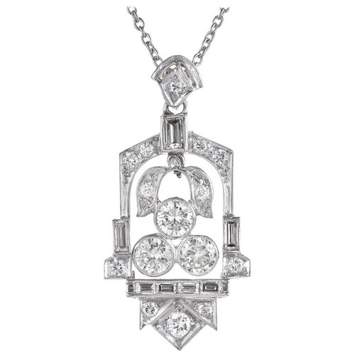 1.65 Carat Diamond Platinum Art Deco Pendant Necklace