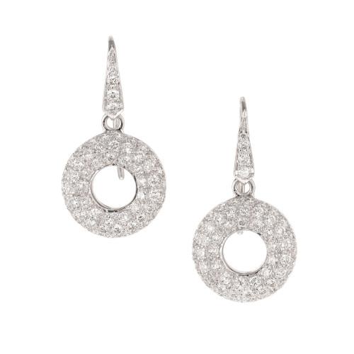 1.45 Carat Diamond White Gold Dangle Earrings