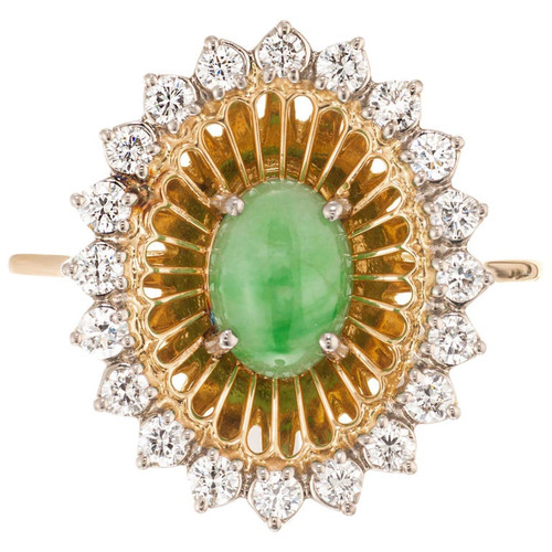 GIA Certified .75 Carat Jadeite Jade Diamond Yellow Gold Cocktail Ring