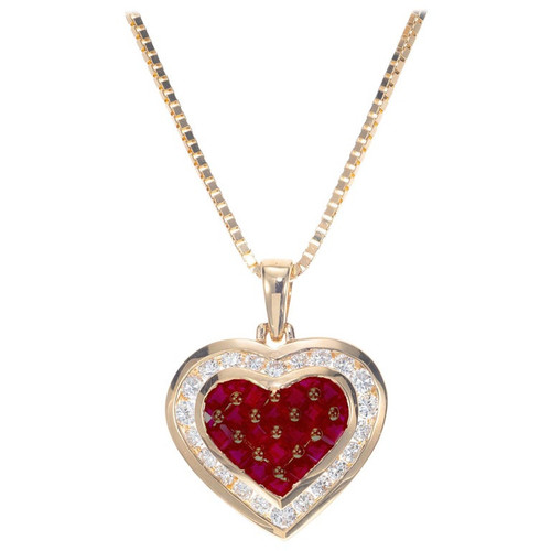 .55 Carat Ruby Diamond Yellow Gold Heart Shape Pendant Necklace