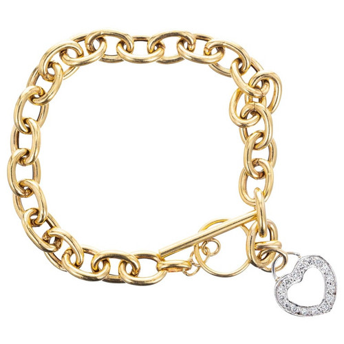 .32 Carat Diamond Yellow Gold Heart Charm Bracelet