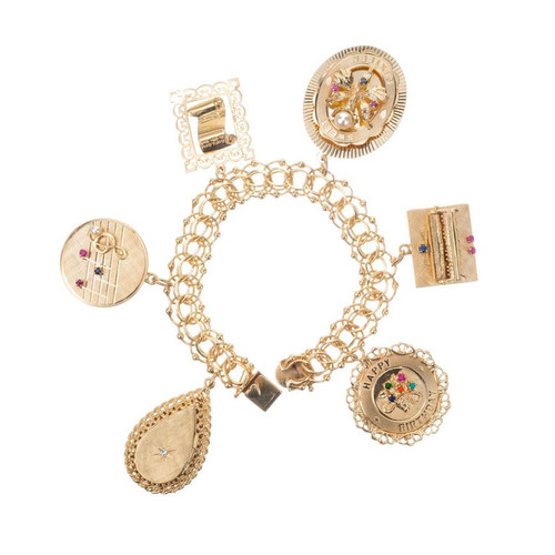1960s Double Link Yellow Gold Music Charm Bracelet