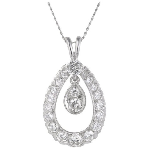 .82 Carat Diamond White Gold Tear Drop Pendant Necklace