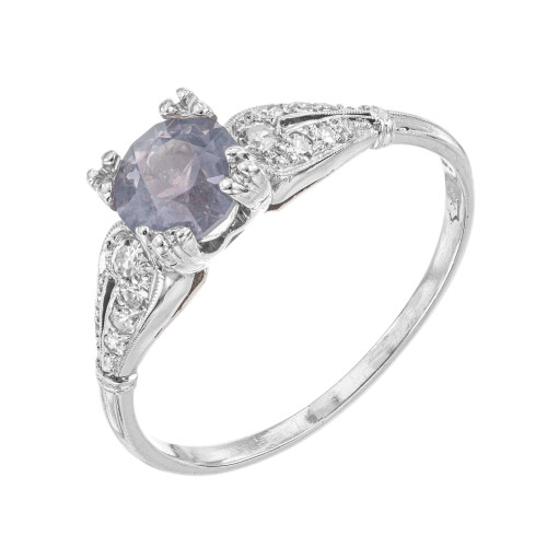 GIA 1.20 Carat Montana Sapphire Diamond Platinum Engagement Ring