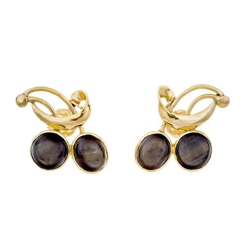 6.00 Carat Black Star Sapphire Yellow Gold Earrings