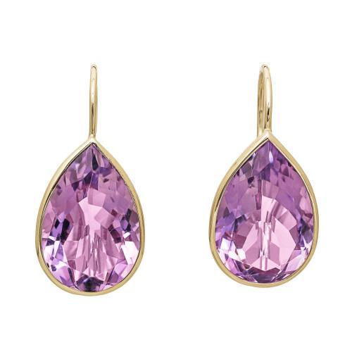 8.00 Carat Light Purple Amethyst Yellow Gold Wire Earrings