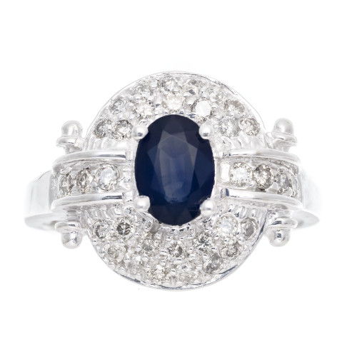.65 Carat Blue Sapphire Diamond Halo White Gold Engagement Ring